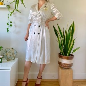 Vintage 80s does 40s pinstriped ivory dress M